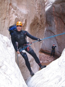 Mike Rappelling in the Middle Fork of Upper Deer Creek