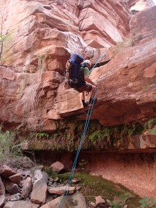 Bob on rope in the Supai - Upper Deer Creek Middle Fork Grand Canyon